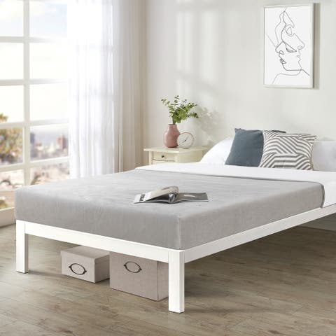 Queen Size Bed Frame Heavy Duty Steel Slats Platform Series Titan C, White - Crown Comfort