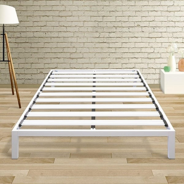 Queen Size Bed Frame Heavy Duty Steel Slats Platform Series An C White