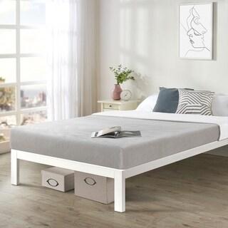 Twin size Bed Frame Heavy Duty Steel Slats Platform Series Titan C - White