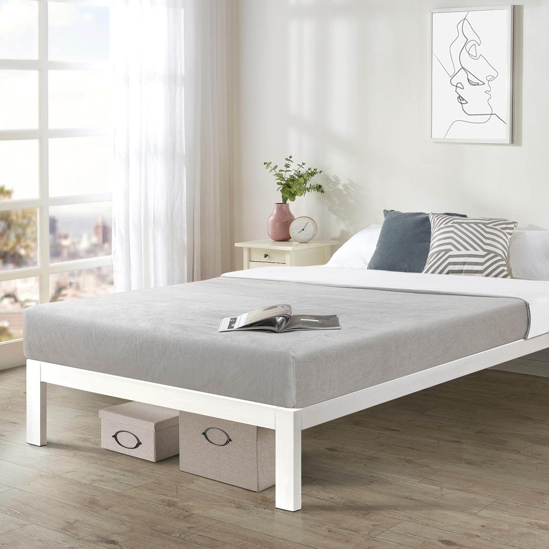 Twin Size Bed Frame Heavy Duty Steel Slats Platform Series An C White Crown Comfort