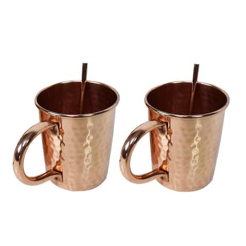 Solid Straight Pair of 100% Copper Moscow Mule Mugs and Two Straws