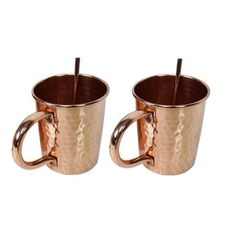 Link to Solid Straight Pair of 100% Copper Moscow Mule Mugs and Two Straws Similar Items in Glasses & Barware