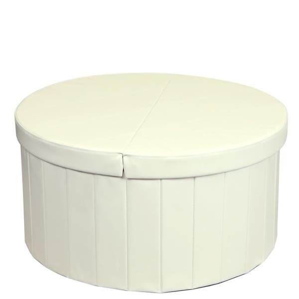 Shop Storage Ottoman With Folding Round Coffee Table Foot