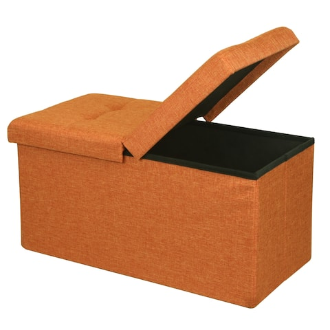 Storage Ottoman Bench 30 Inch Smart Lift Top, Amber Orange - Crown Comfort