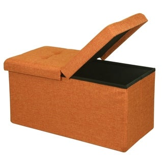 Storage Ottoman Bench 30 inch Smart Lift Top, Amber Orange - Crown Comfort