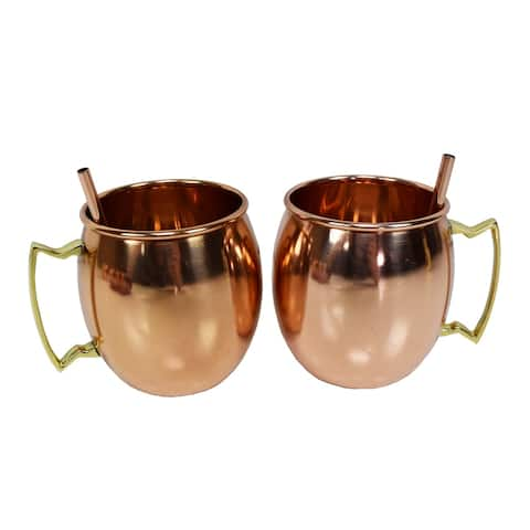 Solid Round Pair of 100% Copper Moscow Mule Mugs and Two Copper Straws