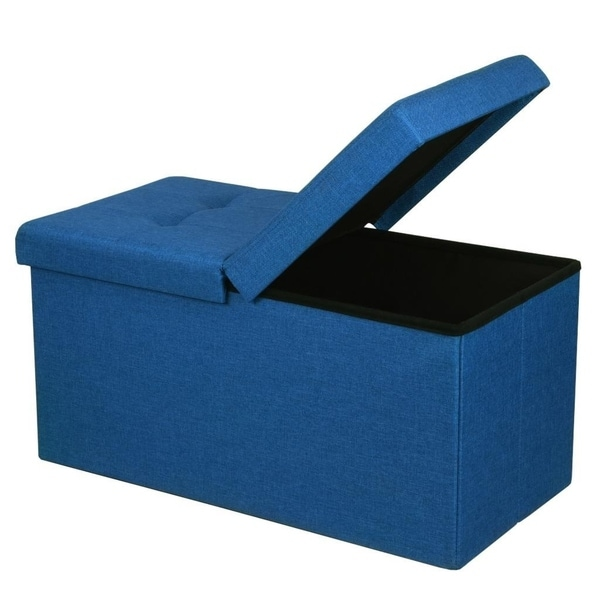 Storage Ottoman Bench 30 Inch Smart Lift Top Royal Blue Crown Comfort