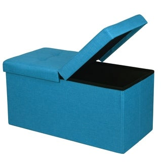 Storage Ottoman Bench 30 inch Smart Lift Top, Sky Blue - Crown Comfort