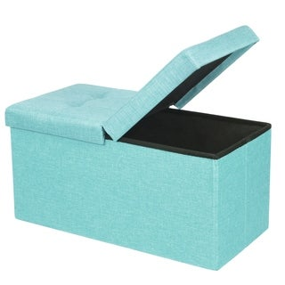 Storage Ottoman Bench 30 inch Smart Lift Top, Mint Blue - Crown Comfort