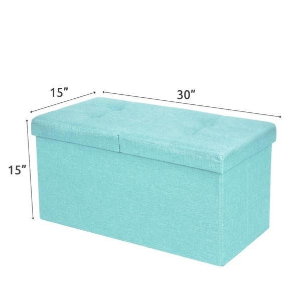 Cool Shop Storage Ottoman Bench 30 Inch Smart Lift Top Mint Blue Gmtry Best Dining Table And Chair Ideas Images Gmtryco