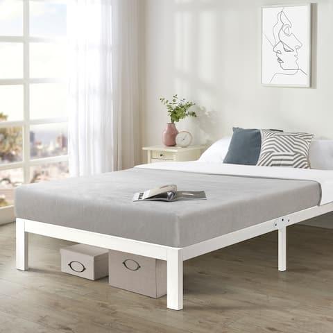 California King Size Heavy Duty Bed Frame Steel Slat Platform Series Titan E, White - Crown Comfort