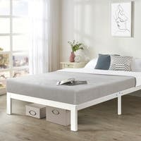 California King size Heavy Duty Bed Frame Steel Slat Platform Series Titan E - White