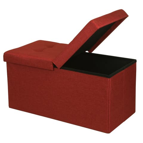 Storage Ottoman Bench 30 Inch Smart Lift Top, Ruby Red - Crown Comfort