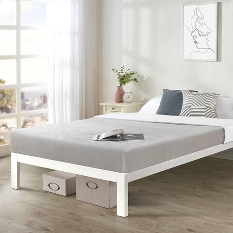 California King Size Bed Frame Heavy Duty Steel Slats Platform Series Titan C, White - Crown Comfort