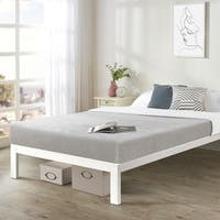 California King size Bed Frame Heavy Duty Steel Slats Platform Series Titan C - White