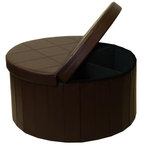 Storage Ottoman With Folding Round Coffee Table Foot Rest Stools Chocolate Crown Comfort