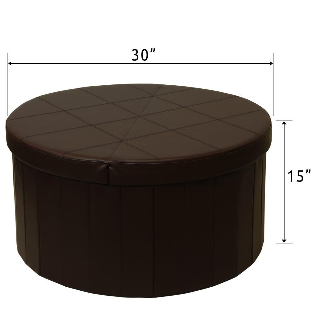 Superb Storage Ottoman With Folding Round Coffee Table Foot Rest Stools Chocolate Crown Comfort Short Links Chair Design For Home Short Linksinfo