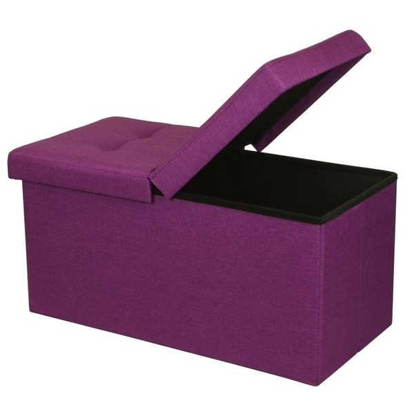 Storage Ottoman Bench 30 inch Smart Lift Top, Orchid Purple - Crown Comfort