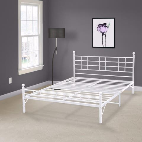 Porch & Den Radcliffe Twin XL Steel Platform Bed Frame - White