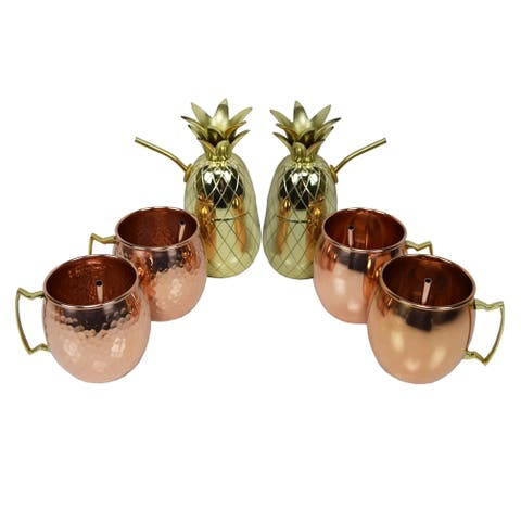 Six Piece Party Set of Moscow Mule Mugs, Pineapple Cups and Straws