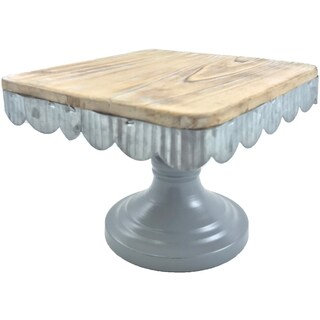 "Cake Stand Square Wood W/Galvinized Edge 7.08""X7.08""X5.4""H"