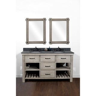 "60""Rustic Solid Fir Double Sink Vanity in Distressed Driftwood Finish with Polished Textured Granite Top-No Faucet"