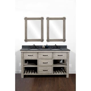 bathroom double sink vanity. 60 Rustic Solid Fir Double Sink Vanity in Distressed Driftwood Finish with  Polished Textured Granite Size Vanities Bathroom Cabinets For Less