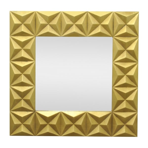 33.5 in. Three Hands Wood Mirror - Gold - 33.5 X 2 X 33.5