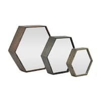 16 in. Three Hands Set Of Three Metal Mirrors - Brown