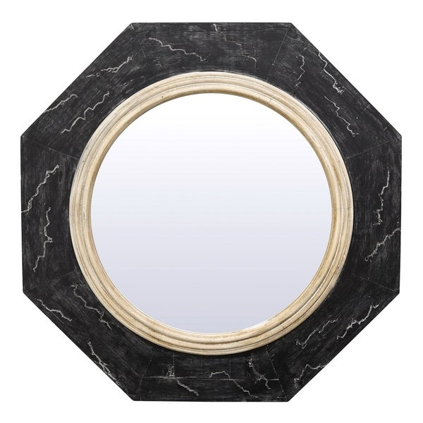 36 in. Three Hands Wood Wall Mirror - Black - A