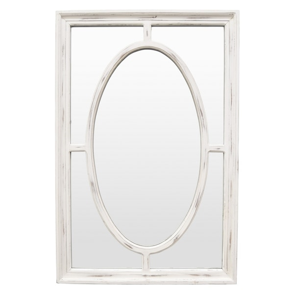 35.5 in. Three Hands Wood Wall Mirror- White Wash - 23.75 X 1.5 X 35.5