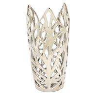 11 in. Three Hands Decorative Silver Ceramic Leaf Vase With Glossy Finish