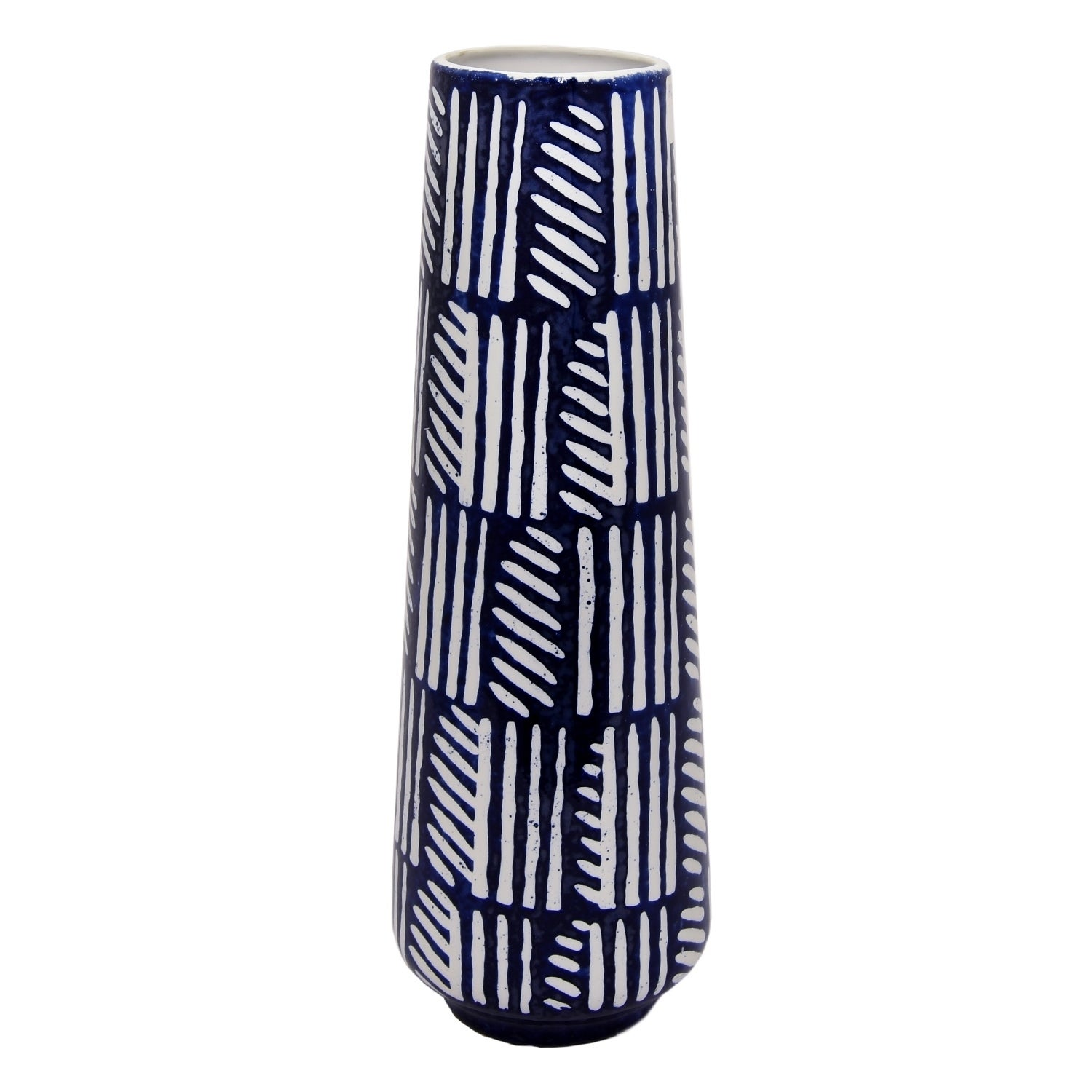 18.5 in. Three Hands Decorative Blue And White Ceramic Vase With Glossy Finish