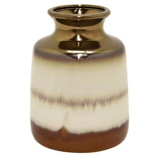 9.25 in. Three Hands White Ceramic Vase