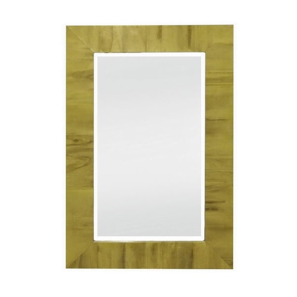 35 in. Three Hands Wood Beveled Mirror-Gold - Gold - 23.5 X 1 X 35