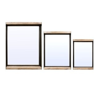 24 in. Three Hands Set Of Three Metal / Wood Shadow Boxes - Brown - N/A