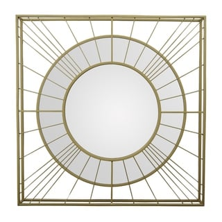 31.5 in. Three Hands Metal Wall Mirror - Gold - A