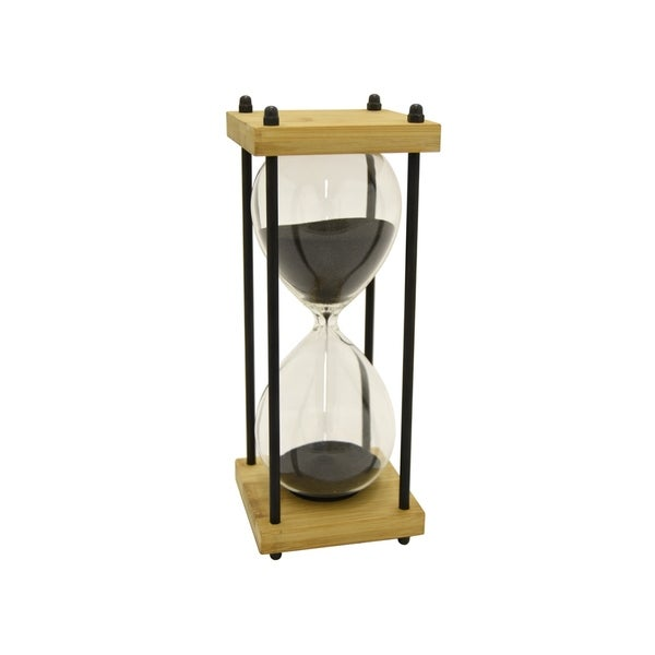 9.75 in. Three Hands Bamboo / Glass Sand Timer -30Min