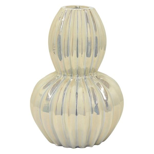 15 in. Three Hands Ceramic Vase-Ivory