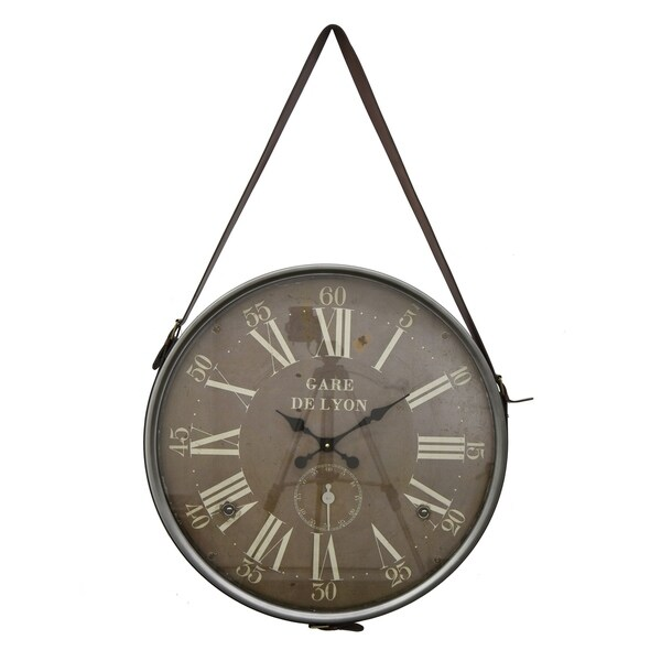 Three Hands Wall Hanging Clock with Grey frame