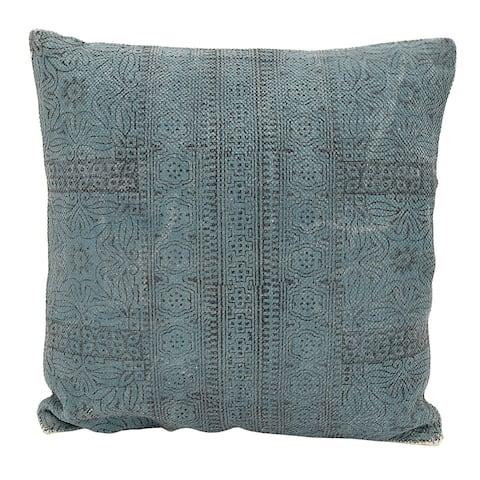 20 in. Three Hands Blue Cotton Cushion