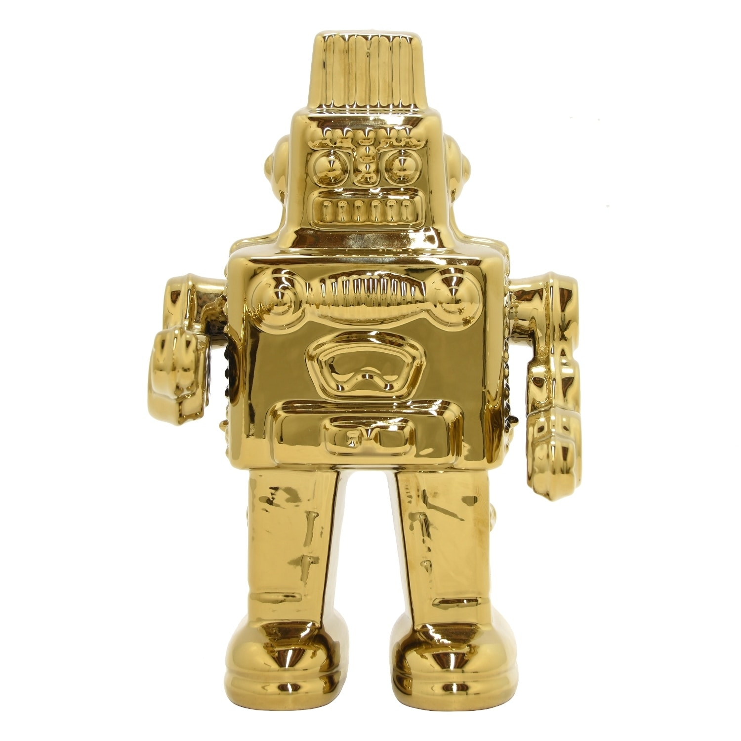 12 in. Three Hands Ceramic Robot-Gold