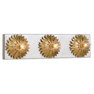 Crystorama Broche Collection 3-light Antique Silver/Gold Bath/Vanity Fixture