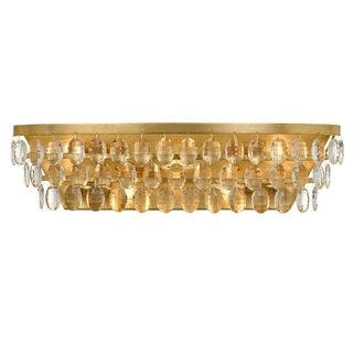 Crystorama Perla Collection 5-light Antique Gold Bath/Vanity Fixture