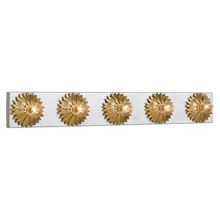 Crystorama Broche Collection 5-light Antique Silver/Gold Bath/Vanity Fixture