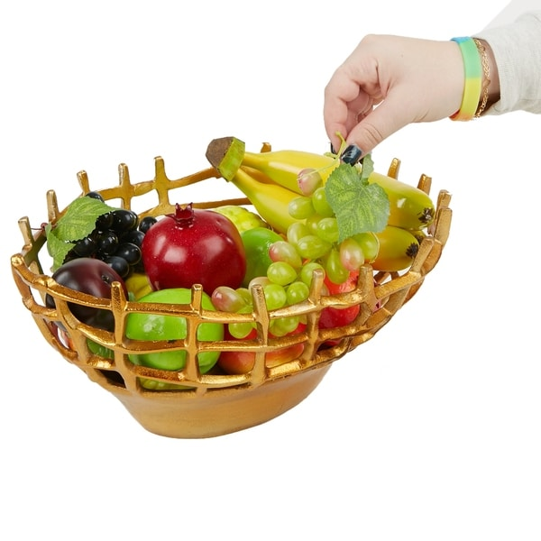 Mind Reader Aluminum Decorative Fruit Bowl, Fruit Holder, Fruit Basket, Snack Storage, Gold