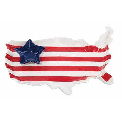 Transpac Dolomite Multicolor 4th of July Americana USA Chip and Dip Set of 2