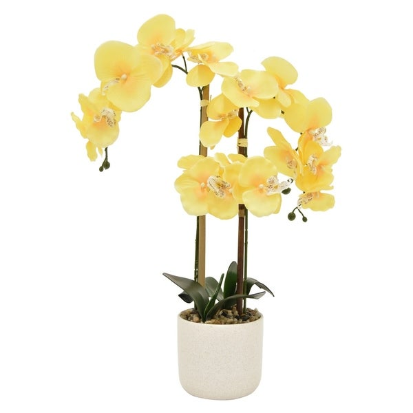 24 Three Hands Faux Orchid Flower Pot Yellow