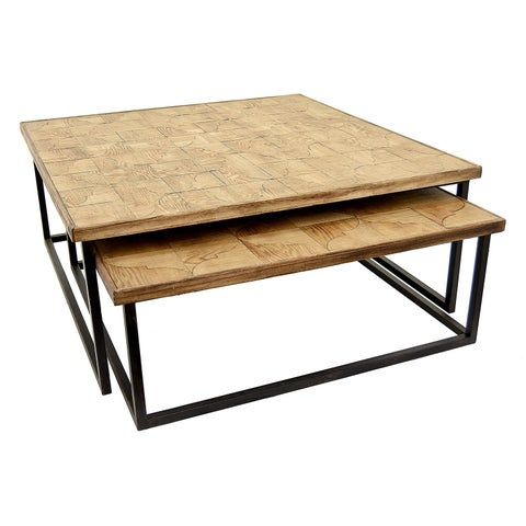 Three Hands Set Of Two Wood / Metal Tables