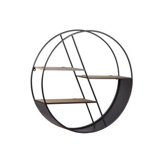UTC54700: Metal Round Wall Shelf with 3 Tier, Drop Leaf and Wooden Surface Shelves Coated Finish Gunmetal Gray